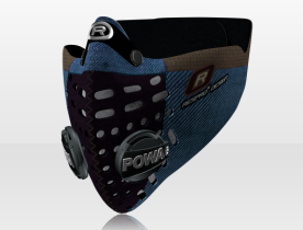 Respro® Skins™ pollution mask - HERRINGBONE Blue #matchyourstyle