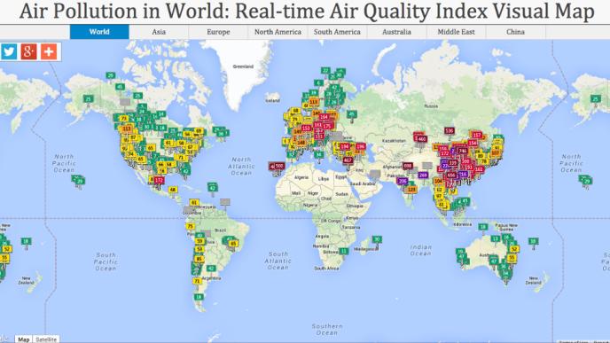 Air pollution map